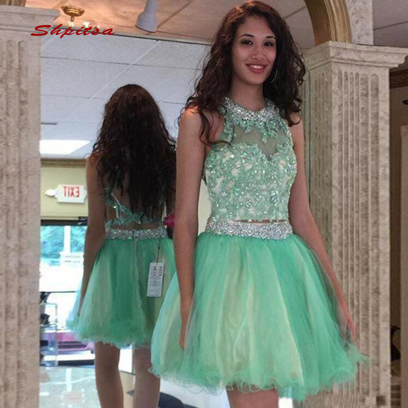 Mint Green Short Lace   Cocktail     Dresses   Party Crystal Graduation Women Prom Plus Size Coctail Mini Semi Formal   Dresses