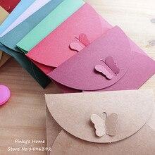 10 шт./лот, цветные бабочки, пряжка, крафт-бумага, конверты, простая любовь, ретро Пряжка, декоративный конверт, маленький бумажный конверт
