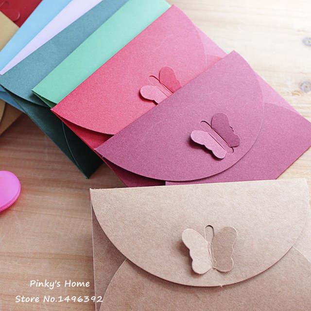 Online Shop 10pcs Lot Colored Butterfly Buckle Kraft Paper Envelopes