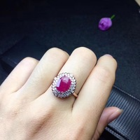 Fashion Ring Ruby ring Free shipping Real and natural ruby 925 sterling silver 8*10mm gemstone Fine women jewelry