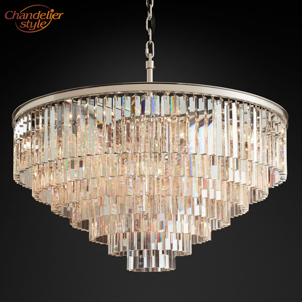 1920's Odeon Clear Glass Smoke Crystal Chandelier Lighting Pendant Hanging Light Fixture Home Hotel Living Dining Room Lighting-in Chandeliers from Lights & Lighting    1