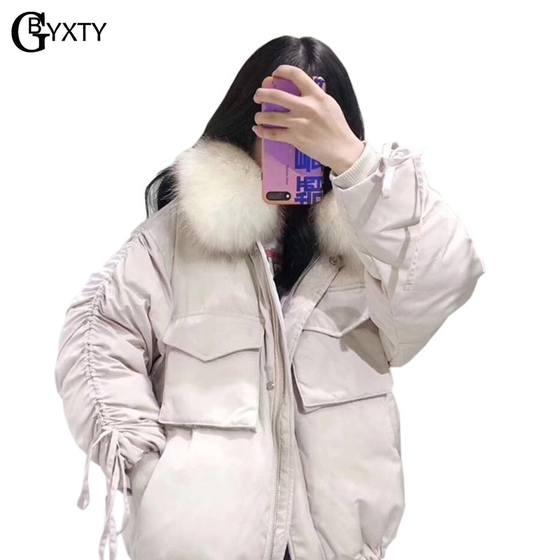GBYXTY chaqueta mujer Girls Sleeve Drawstring Raccoon Fur Hood   Down     Coat   2018 Winter Women Thick Long Duck   Down   Jacket ZA1111