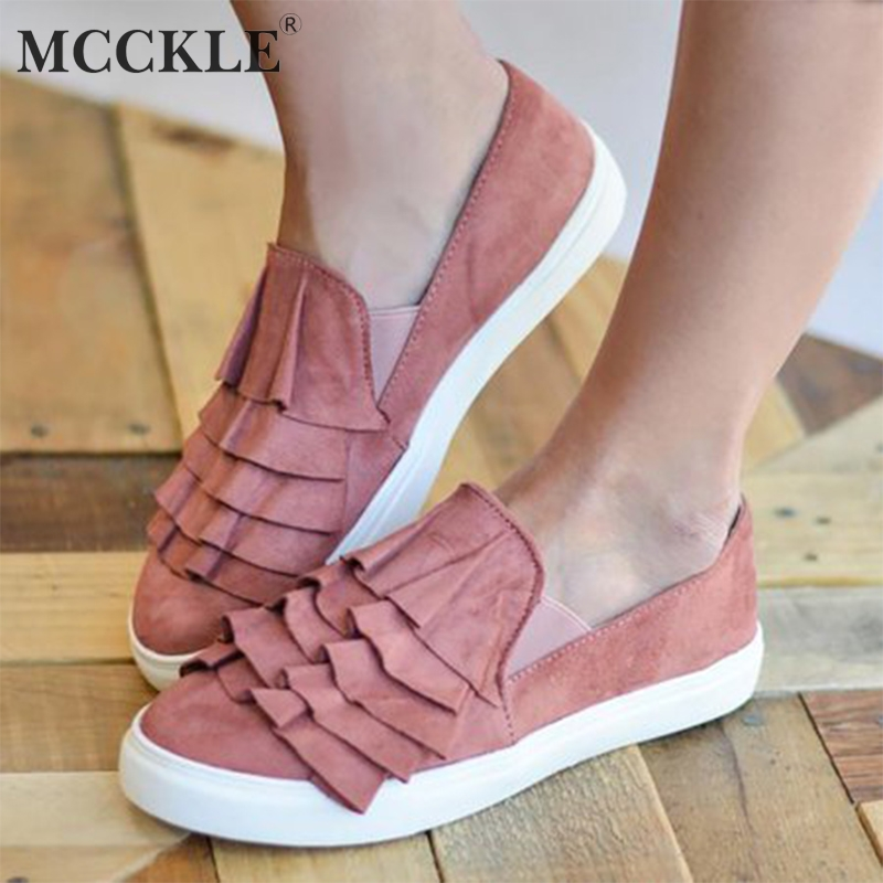MCCKLE Women Plus Size Vulcanized Shoes Platform Ruffle Flats Casual Female Sneakers Elastic Band Slip On Flock Ladies Footwear футболка aston martin футболка