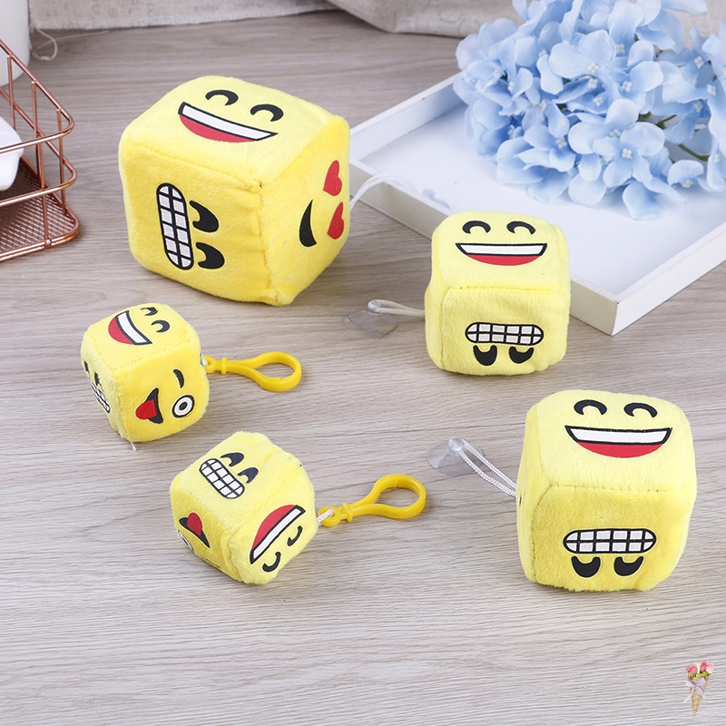Yellow Face on Dice Kawaii Kid's Mini 4/6/8CM Plush Stuffed TOY Plush Toy Doll Kid's Party Gift Toy
