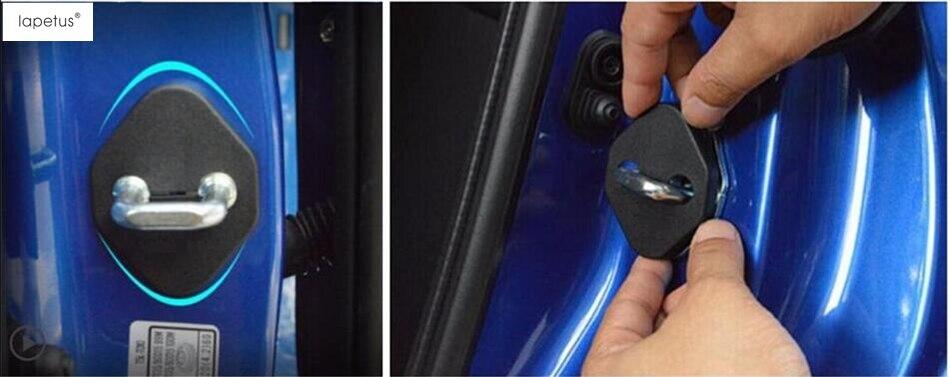 Black ! Plastic Car Door Lock Protector Buckle Decoration Molding Cover Kit Trim 4 Pcs For Honda Crosstour 2009 - 2016