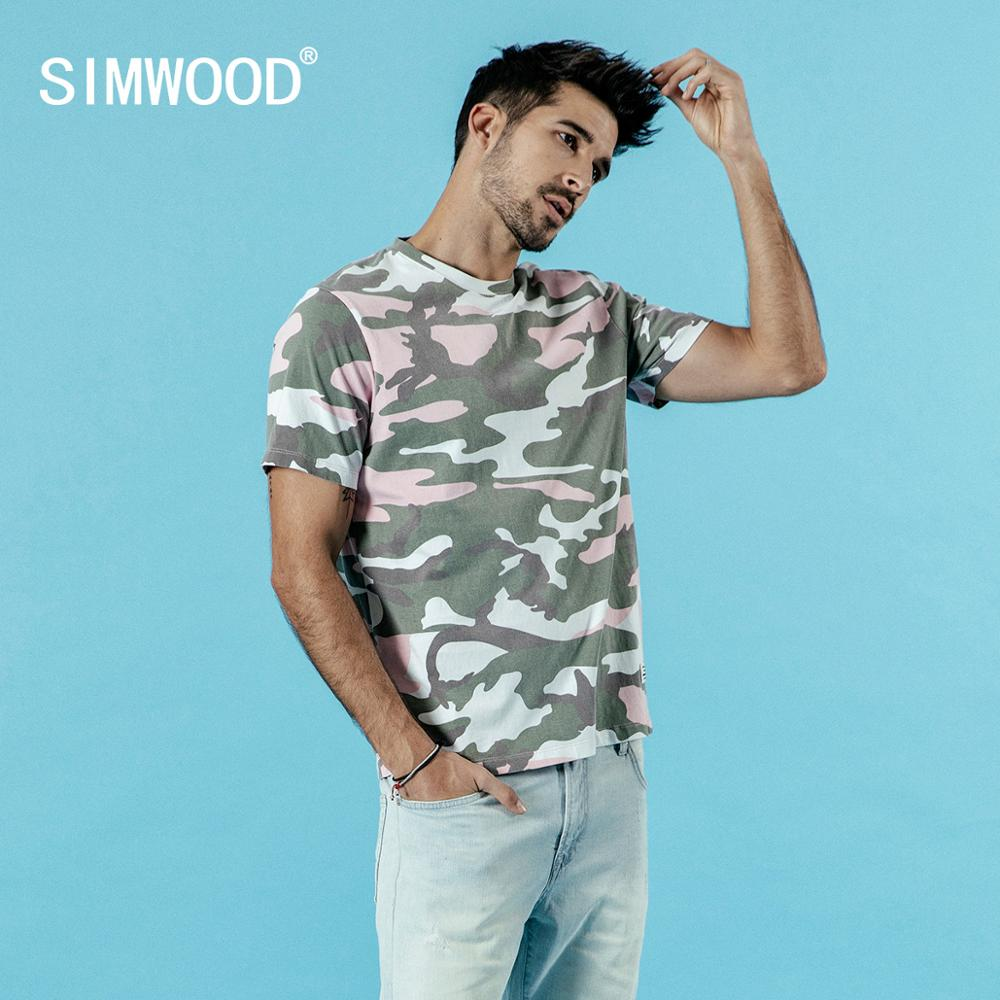 SIMWOOD 2019 summer new Tshirt men camouflage 100% cotton fashion T shirt causal print top t-shirt high quality clothes 190036