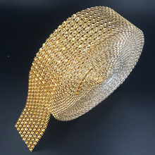 "1.5 ""x10 yards Wedding Wrap mesh bling ribbon home table party decorations Rhinestone Crystal gold Diamond Mesh DIY Type"