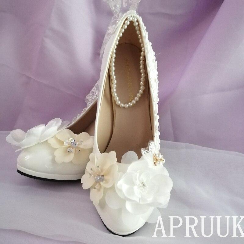 Grande taille talons hauts plates-formes champagne fleurs mariage chaussures mariée zapatos de novia fait à la main douce dentelle ivoire perle parti pompe