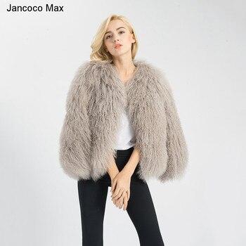 Jancoco Max venta al por mayor venta al por menor 6 colores de las mujeres  2018 Real de piel de cordero chaqueta o Dama de moda de invierno abrigo de  piel ... ea2fcb347cba