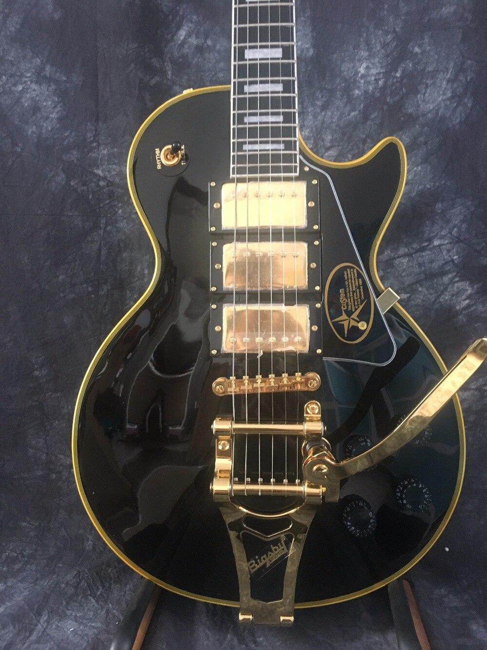 Livraison Gratuite Personnalisé Paul Noir 3 Micros Matériel D'or Guitare Électrique avec Bigsby