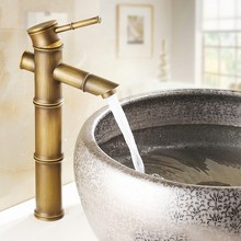 Grifo de latón antiguo de bambú de diseño moderno/grifos de lavabo de moda/Mezclador de Baño/grifo de lavabo de baño Vintage y grifo de agua 583-2