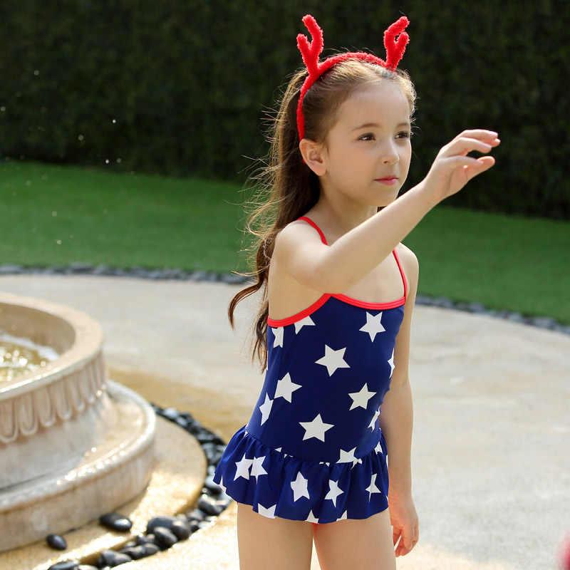 Vivo-biniya الفتيات بدلة سباحة كاب الأزرق نجمة المطبوعة قطعة واحدة ملابس الاطفال السباحة شاطئ يناسب سنوات 3-10