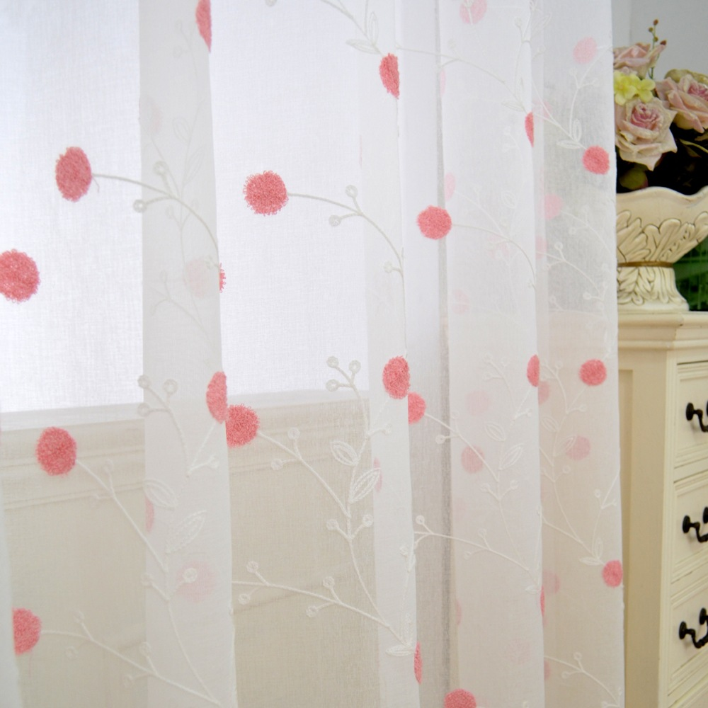 Sweet Embroidered Tulle Curtains Linen Cotton Kids Room Curtains For  -> Cortinas De Sala