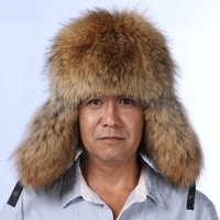 NGSG men real silver fox fur bomber hat father winter snow cap genuine leather trapper man hat with earflaps cap earmuffs male