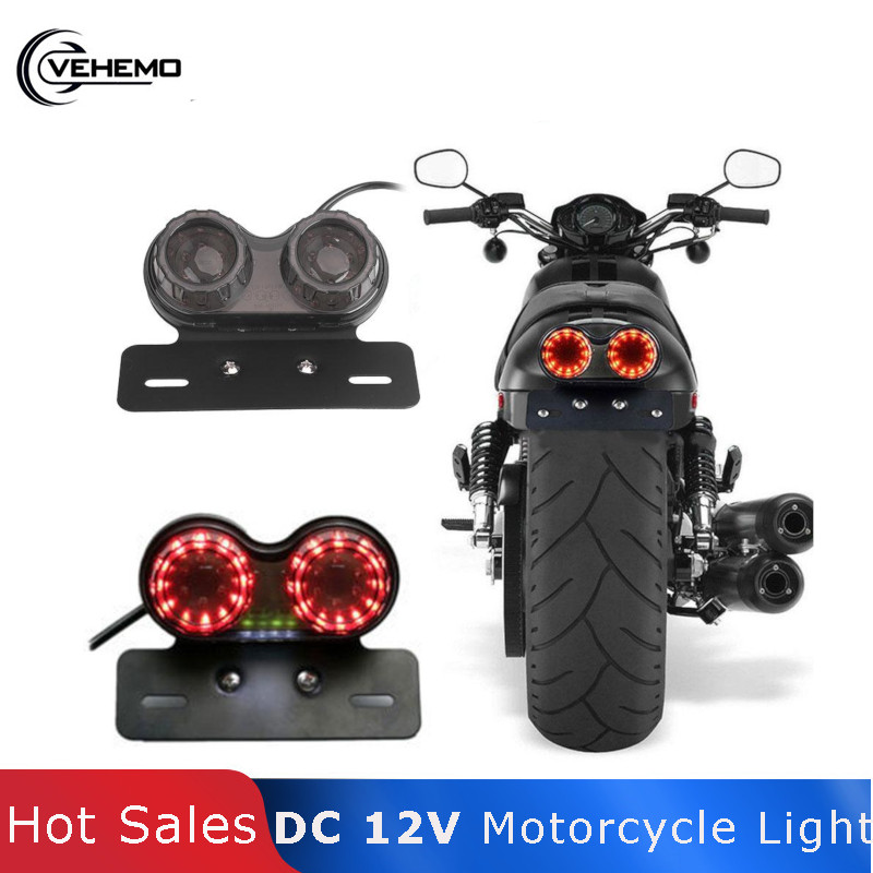Vehemo Tail Motorcycle Light Luz LED Moto Light Plastic DC 12V Faros Generic License Plate Stop Brake Luces Para ATV Chopper