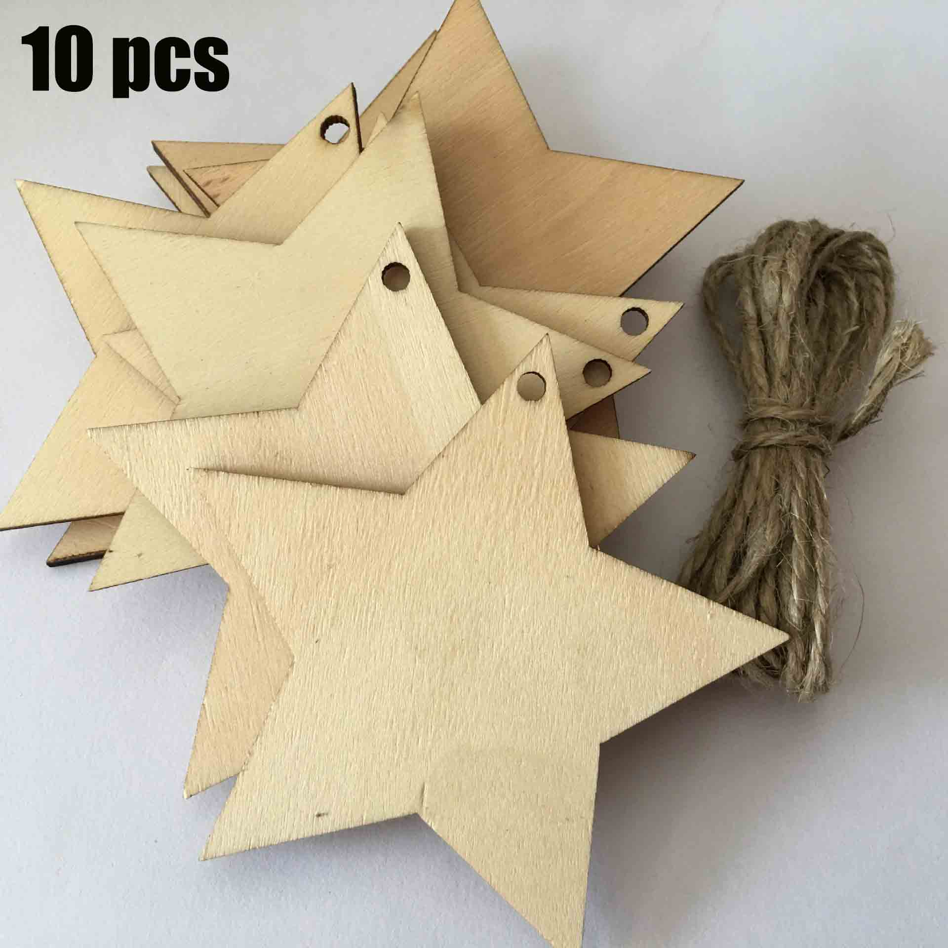 10 Pcs Creative Christmas Star Wooden Pendant Wood Log Slices Discs For DIY Crafts Wedding Centerpieces With 10M Jute Twine