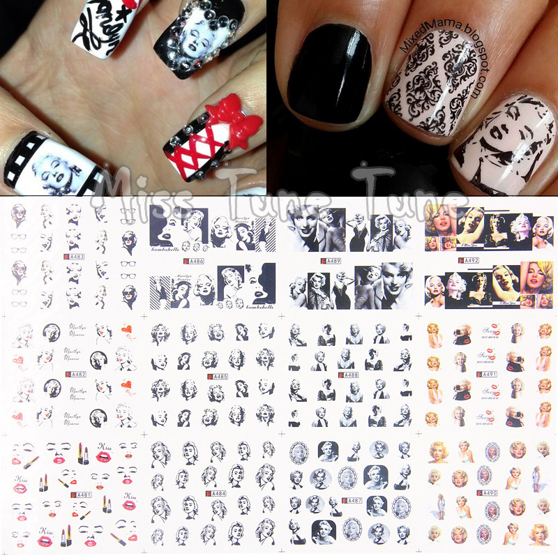 12 Sheets Marilyn Monroe Full Cover Nail Stickers Decal Water ...