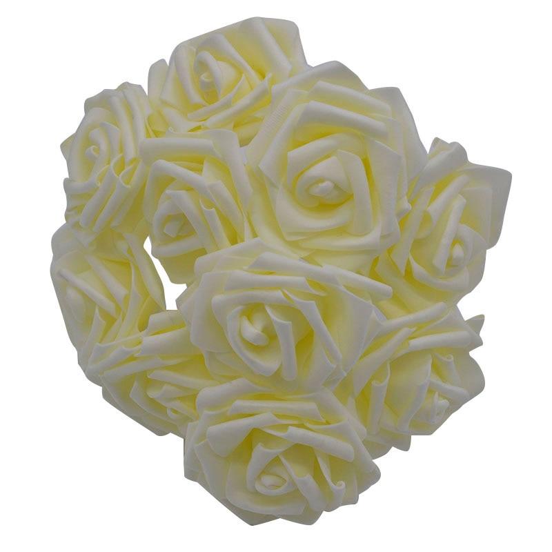 10 шт. 8 см большие ПЭ пенные цветы искусственные розы цветы Свадебные букеты Свадебные украшения для вечеринки DIY Скрапбукинг Ремесло поддельные цветы - Цвет: beige no leaf