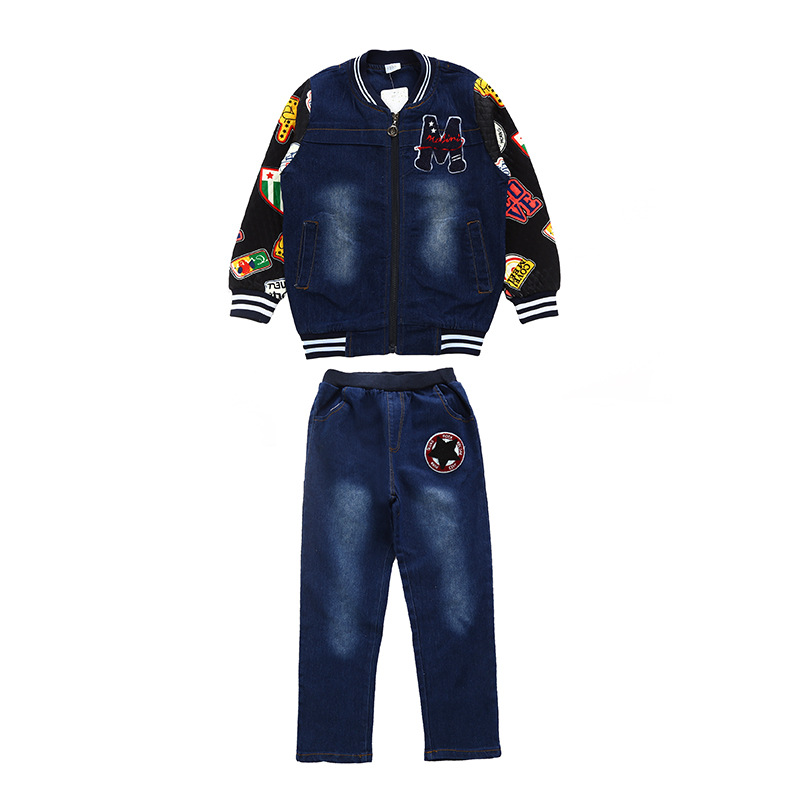 Children 39 s suits 2019 spring new boys and girls cowboy suits cuhk fashion kids denim clothing sets baby clothes jean body suit in Clothing Sets from Mother amp Kids