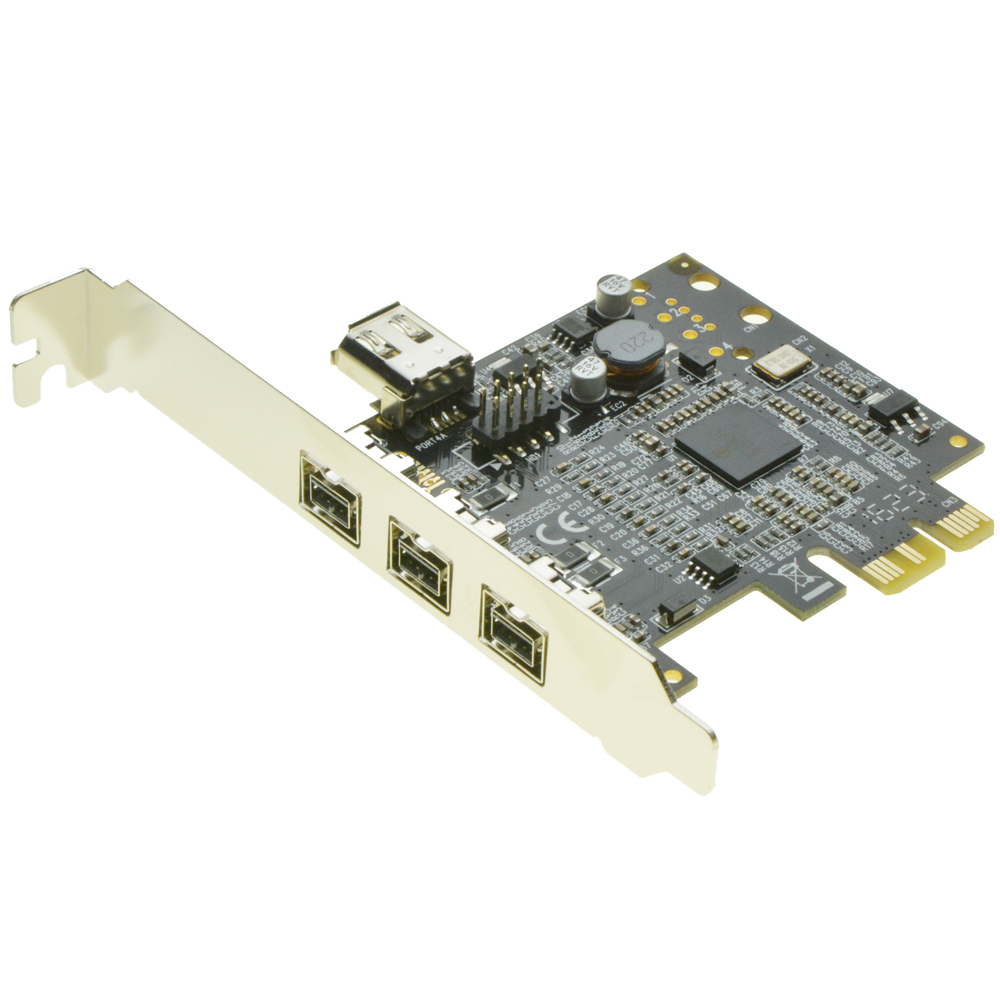 PCIe to 3 Ports <font><b>1394B</b></font> Shared internal 1394A card External Firewire 800 <font><b>IEEE</b></font> 1394 PCI express card For HD video capture card image