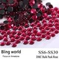 O CraftsOutlet DMC Hotfix Qualidade Superior de Vidro Redonda Rosa Embelezamento Rhinestone Tamanho SS6 SS10 SS16 SS20 SS30