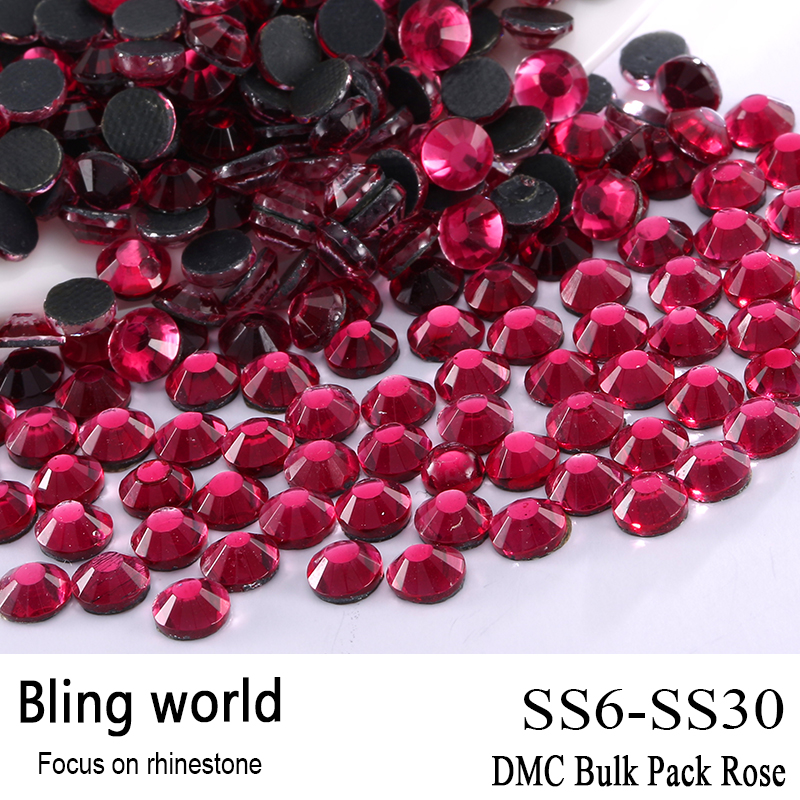 ФОТО The CraftsOutlet DMC Hotfix Superior Quality Glass Round Rose Rhinestone Embellishment Size SS6 SS10 SS16 SS20 SS30