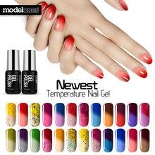 Modelones 7 мл Термальность Температура изменить Цвет Гели для ногтей лак замочить от УФ-Хамелеон Гель-лак Led Лаки для ногтей горячий желтый гель