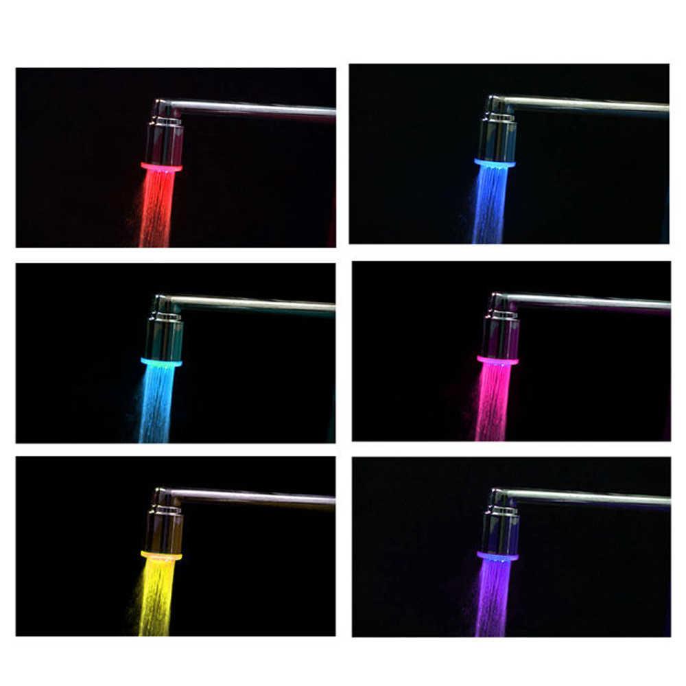 1 PC LED Faucet Lampu Tekan Nozzle RGB Warna Berkedip Suhu Faucet Aerator Hemat Air Dapur Kamar Mandi Aksesoris