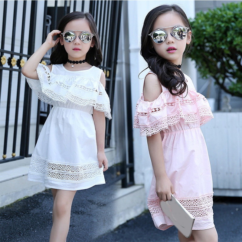 Girls Off Shoulder Dress 2019 Summer Style Lace Dress with Sleeves Teenage Girls Fashion Cotton Hollow Out Dress Girls Clothes girl