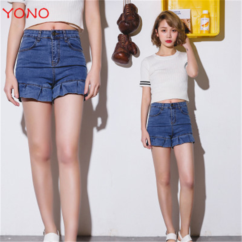 2 Real New Fashion Women Denim Shorts Frayed Mini Slim Fit Ruffles High Waist Wide Leg Casual Women Jeans Shorts