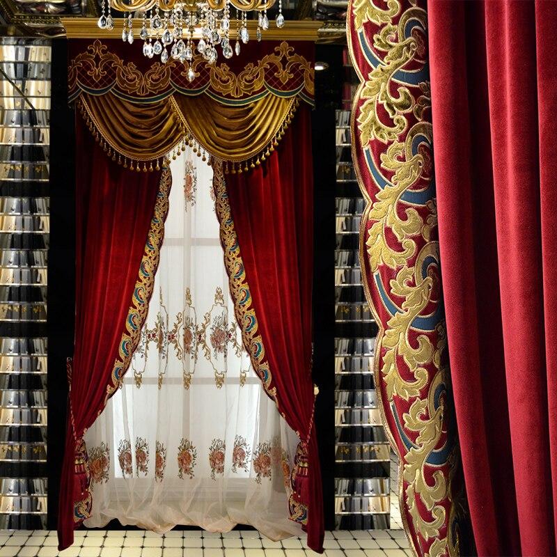 Rideaux personnalisés classique européen chinois mariage rideau rouge velours épaissir tissu occultant rideau cantonnière tulle pure E841