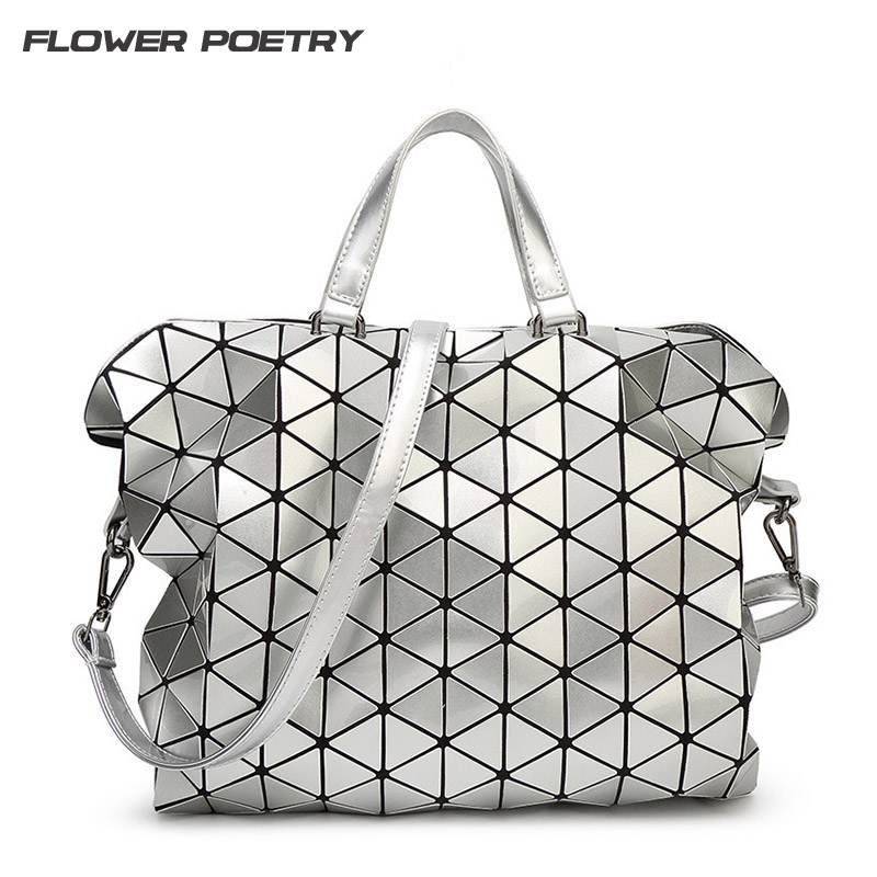 Geometric Design Fashion Bao Bao Handbag Foldable Plaid Women Shoulder Bag Quilted Folded Casual Large Shopping Bag For Women saf green leaves rose foldable red shopping bag handbag