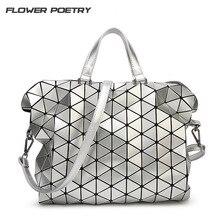 Geometrische Design Mode Bao Bao Handtasche Faltbare Plaid Frauen Schultertasche Gesteppte Gefaltet Lässig Große Einkaufstasche Für Frauen