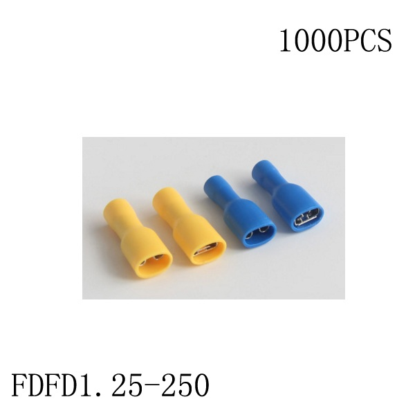 manfacture Brass 1000 PCS FDFD1.25 250 cold pressure terminal Fully insulated female connector Electrical Crimp Terminal