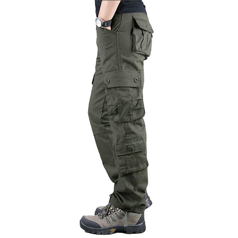 2020 wiosna męskie spodnie Cargo Khaki wojskowe męskie spodnie dorywczo bawełniane spodnie taktyczne mężczyźni Big Size armia Pantalon Militaire Homme