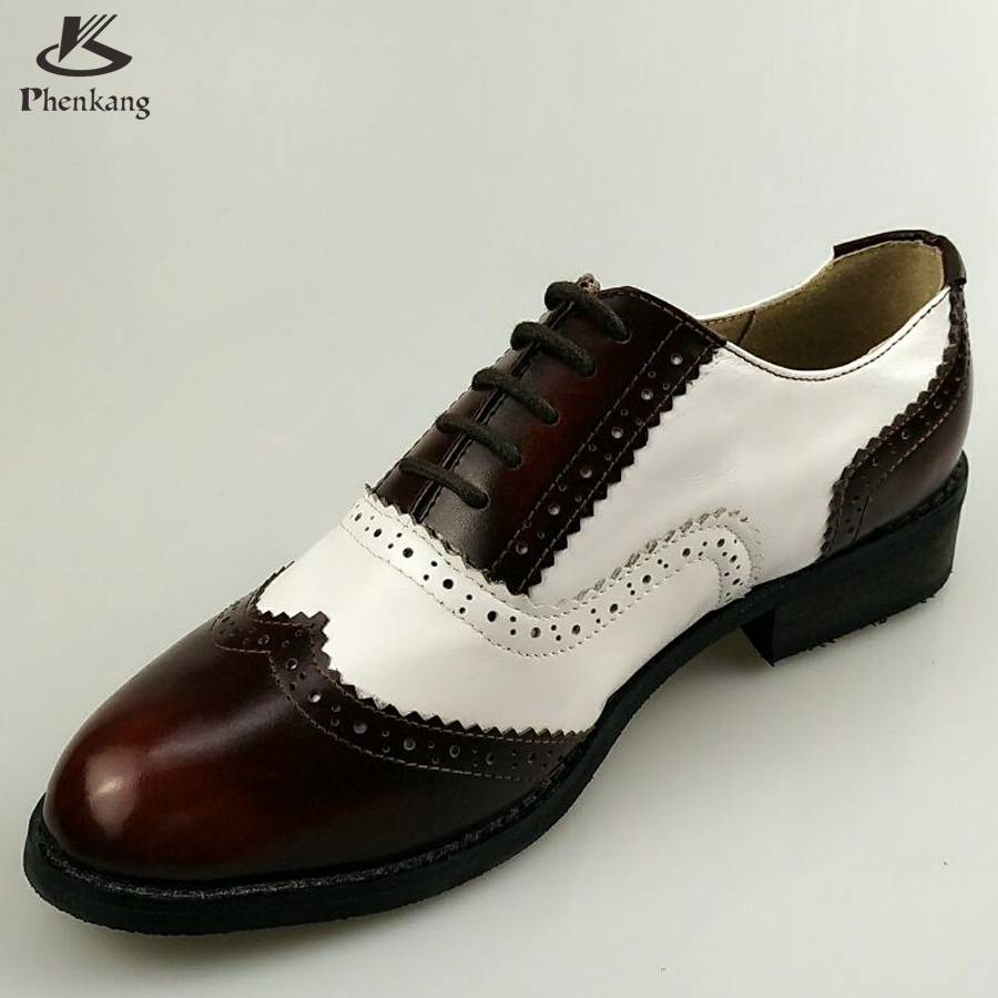 ФОТО Genuine leather big woman US size 11 designer vintage shoes round toe handmade brown white 2017 oxford shoes for women with fur