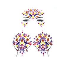 15 Styles Adhesive Sticky Gems Sticker Makeup Face Boob Jewel Crystal Festival Party Stickers For Body Art