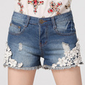2016 Summer jeans for women short female Lace Pearls floral Hole Denim Shorts belarus Feminino Fashion Casual Jeans Hot sale