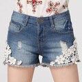 2016 calças de brim de Verão para as mulheres Laço das Pérolas floral Buraco Shorts Jeans curto feminino bielorrússia Feminino Moda Casual Calça Jeans venda Quente