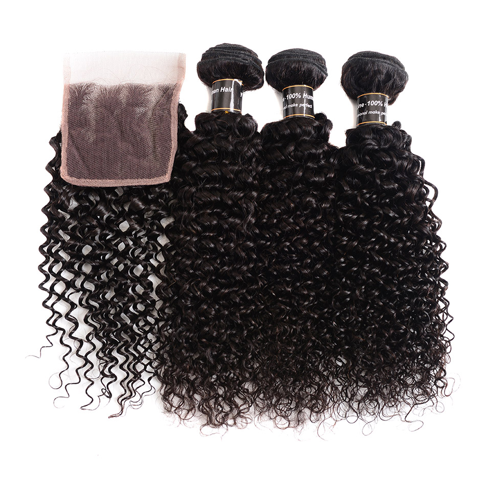 BOL Kinky Curly Weave Human Hair Bundles With Closure Brazilian Hair Weave 3 Bundles With Closure Remy Hair Extension 4 PCS/LOT