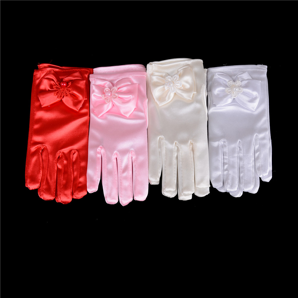 1 Pair Kids Girls Bow Gloves Infant Baby Mittens Child Elbow Short Party Gloves Wedding 4 Colors Gloves & Mittens Mother & Kids