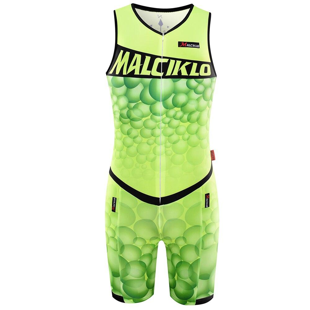 Prix pour MALCIKLO Maillot Triathlon Vélo Vêtements Hommes Équitation Vélo Jersey Nouveau V-cou Sans Manches Fluorescence Vert Livraison Gratuite