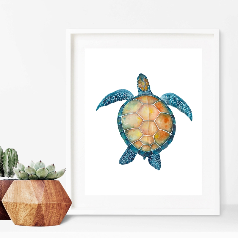Ocean Sea Turtles Art Print Poster Home Decor Watercolor Starfish Canvas Painting Nautical Decoration In Calligraphy From
