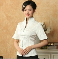 Promotion White Vintage Chinese Ladies Blouse Linen Rayon Shirt Top V Neck Short Sleeve Clothing Size