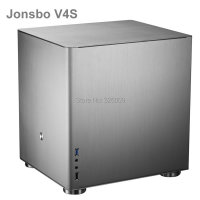 Original Jonsbo V4S V4 Silver HTPC case  MATX with All Aluminum 1.5mm  3.5'' HDD  USB3.0 5Gbps  PCI Slot