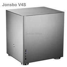 Оригинальный серебристый HTPC корпус Jonsbo V4S V4 MATX с полностью алюминиевым 1,5 мм, 3,5 дюйма HDD, USB3.0 5 Гбит/с, разъем PCI