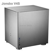 Original Jonsbo V4S V4 Silver, HTPC case MATX with All Aluminum 1.5mm, 3.5'' HDD, USB3.0 5Gbps, PCI Slot, other V2, V3+, C2