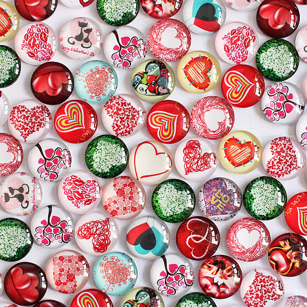 12mm Mixed Style Love Heart Round Glass Cabochon Dome Jewelry Finding Cameo Pendant Settings 50pcs/lot K04137