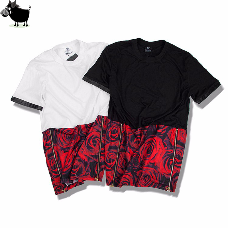 Man Si Tun Summer Hip Hop unisex EXO right Zhilong Rose Graphic Extra Long T shirt Tyga Paisley Side Zip hba t shirt Men/women
