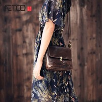 AETOO 2017 New 100 Cow Leather Shoulder Bag Retro Vertical Paragraph Square Bag New Leather Leisure
